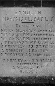 Exmouth Masonic Hall, Corner Stone