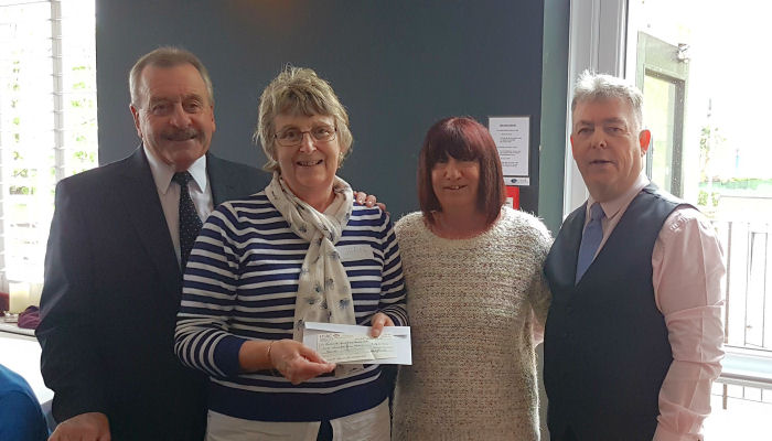 Sun Lodge Ladies night 2018. £140 cheque presentation to Exmouth Memory Cafe